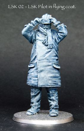 LSK 02. Modelled from a colour plate, Steve Warrilow's standing LSK pilot in flying coat and hard helmet with his hands up to his goggles is likewise the perfect generic pilot to pose by your model.