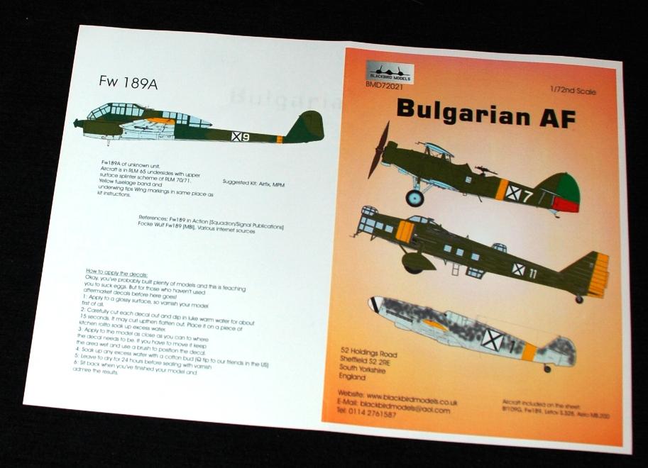 3 HN Ac Decals Blackbird Models Bulgarian AF 1.72
