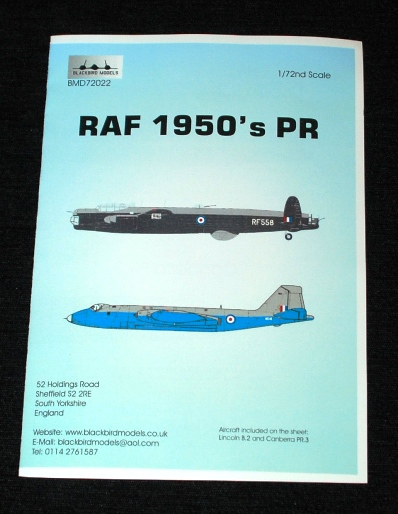 1 HN Ac Decals Blackbird Models RAF 1950s PR 1.72