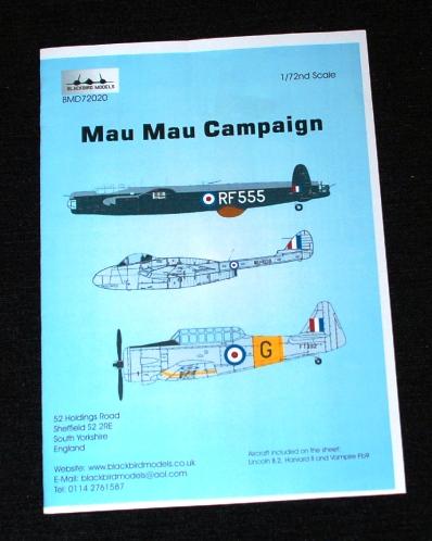 1 HN Ac Decals Blackbird Models Mau Mau Campaign 1.72