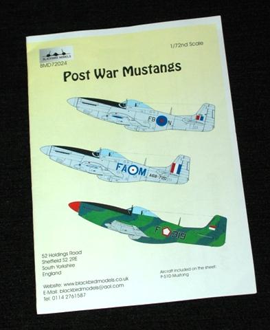 1 HN Ac Decals Blackbird Models Post War Mustangs 1.72