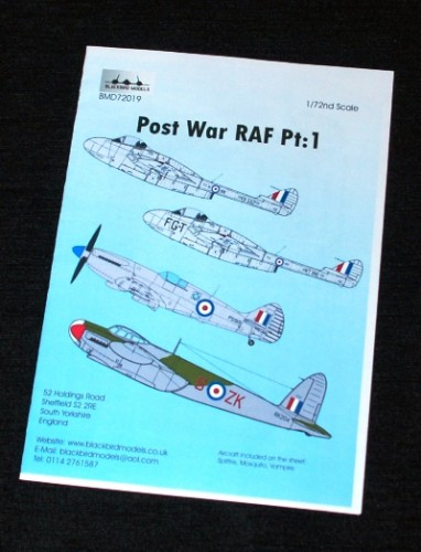 1 HN Ac Decals Blackbird Models Post War RAF Pt1 1.72