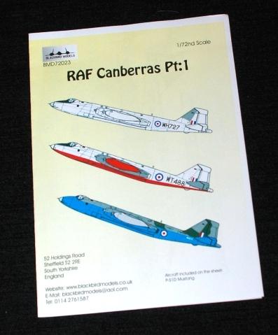 1 HN Ac Decals Blackbird Models RAF Canberras Pt1 1.72