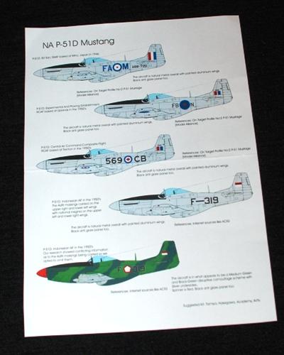 2 HN Ac Decals Blackbird Models Post War Mustangs 1.72