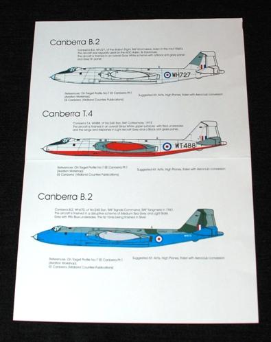 2 HN Ac Decals Blackbird Models RAF Canberras Pt1 1.72