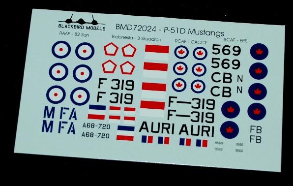 4 HN Ac Decals Blackbird Models Post War Mustangs 1.72