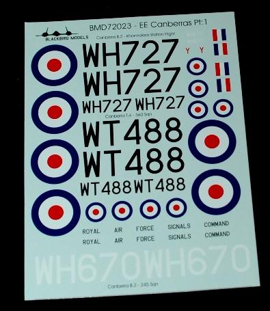 4 HN Ac Decals Blackbird Models RAF Canberras Pt1 1.72