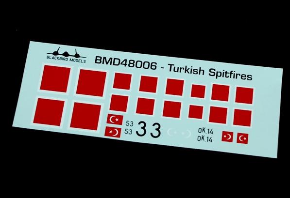 4 HN Ac Decals Blackbird Models Turkish Spitfires  1.48