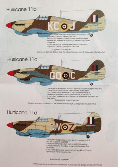 2 HN Ac Decals Blackbird Models Hurricanes over the Desert 1.48
