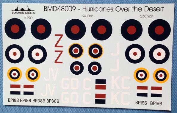 3 HN Ac Decals Blackbird Models Hurricanes over the Desert 1.48