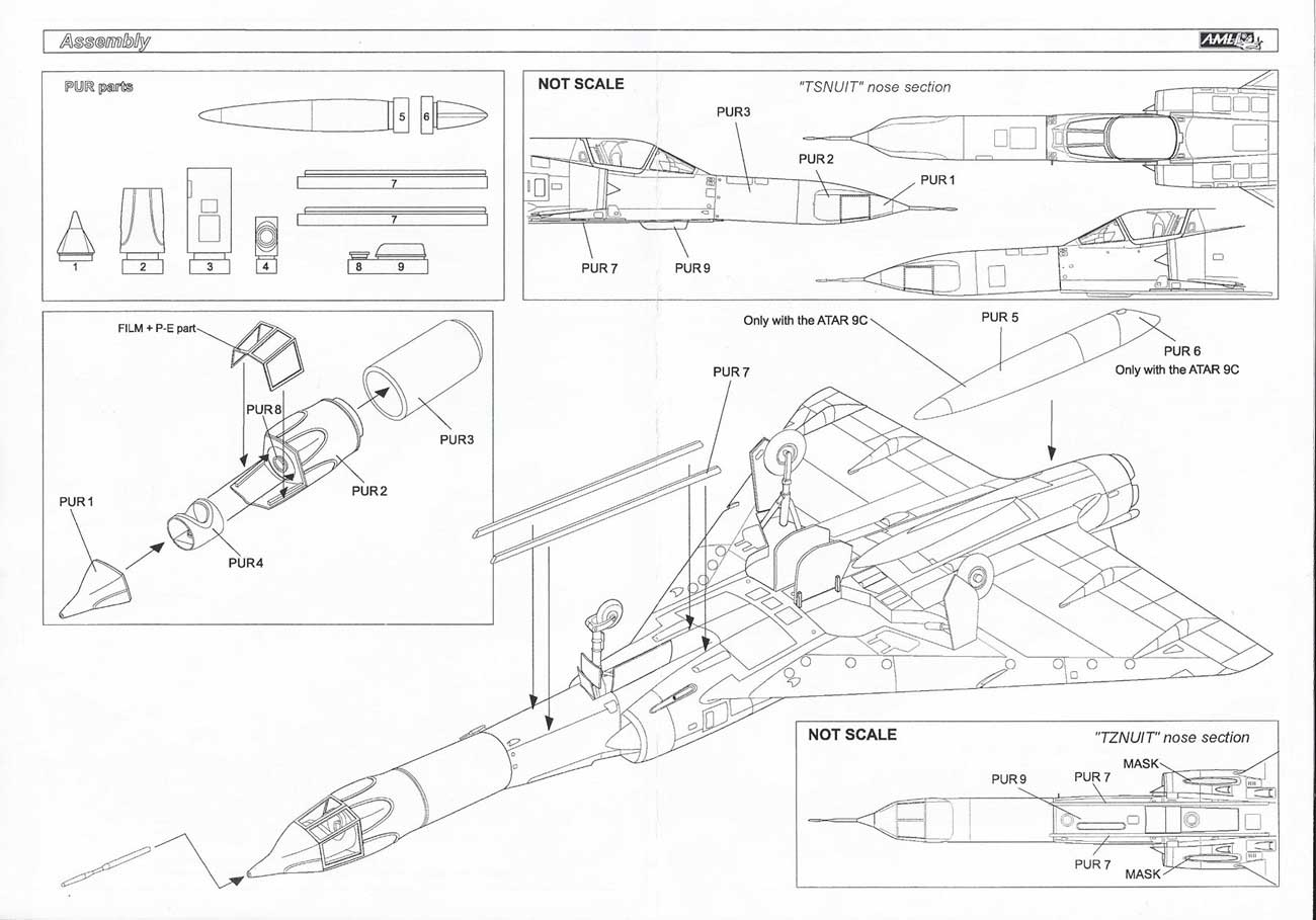 the other elements i used for this project were the mirage iii cj kit  (8102) from eduard and the atar 9c engine nozzle set from wolfpack