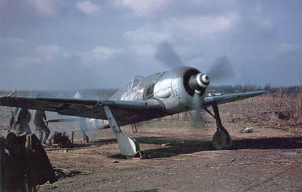 "A captured German Focke-Wulf Fw 190A-8 (WNr. 681497, ""White 11"") of 5./JG 4 at St. Trond airfield, Belgium, circa 1 January 1945. This aircraft was flown during on 1 January 1945 by Corporal Walter Wagner who was hit by flak during the attack over St. Trond airfield. The engine died and he had to make an emergency landing. The weapons have obviously been removed. The photo was taken by the resident USAAF 404th Fighter Group."