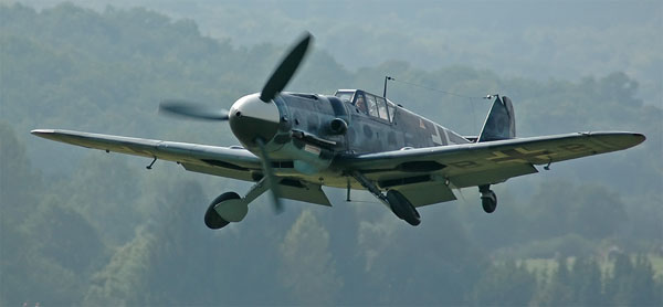 "Photo: Courtesy of Kogo: An Hispano Aviación HA-1112 (c/n 156 C.4K-87 (D-FMBB), ""FM+BB""), a license-built Messerschmitt Bf 109 G-2. Rebuilt by the EADS/Messerschmitt Foundation, Germany with a Daimler-Benz DB 605 engine as a G-6. The paint scheme is missing the Swastika, due to current German laws."