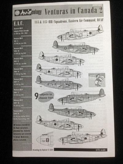 1 HN Ac Decals Aviaeology Venturas in Canada 2 1.72