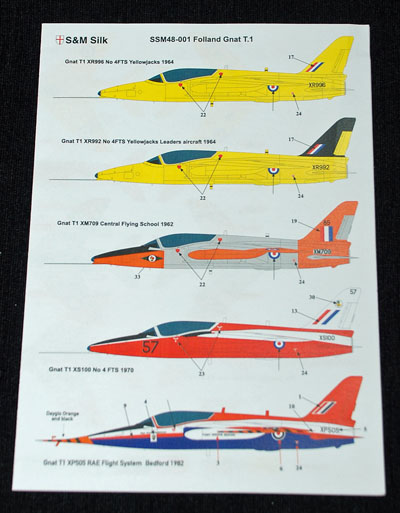 1 HN Ac Decals SM Decals Folland Gnat T1 1.48