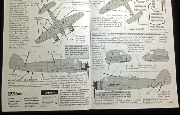 2 HN Ac Decals Aviaeology Beaufighter Pt1 Stencils 1.32