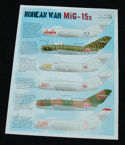 1 HN Ac Decals Iliad Design Korean War Mig 15s 1.48