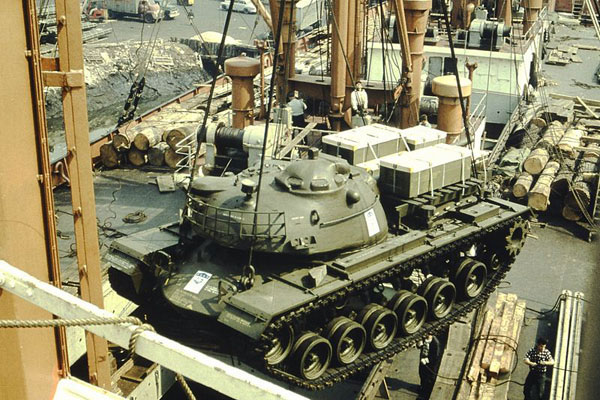 M48 Patton tank is lifted gently aboard of TS Nabob, New York