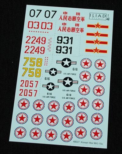 2 HN Ac Decals Iliad Design Korean War Mig 15s 1.48