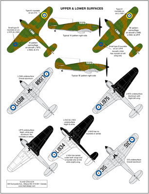 3 HN Ac Decals Iliad Design Pre War Hurricanes 1.72