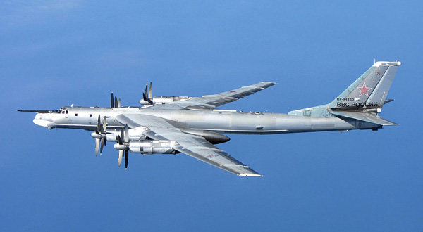 Photo: Courtesy RAF, shows a Russian Tu-95 Bear 'H' photographed from a RAF Typhoon Quick Reaction Alert aircraft (QRA) with 6 Squadron from RAF Leuchars in Scotland. RAF Typhoon Quick Reaction Alert aircraft were launched from RAF Leuchars to determine the identity of unknown aircraft that approached the NATO Air Policing Area north of Scotland and could not be identified by other means. The aircraft were subsequently identified as Russian military reconnaissance (Bears). The Russian Bears aircraft remained in international airspace as they are perfectly entitled to do