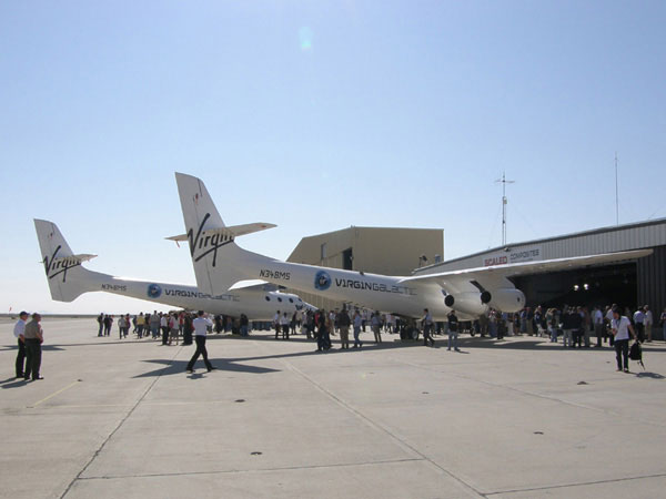 """Photo: Courtesy of Akradecki: Scaled Composites / Virgin Galactic WhiteKnightTwo """"mother ship"""" VMS Eve at the rollout ceremony."""
