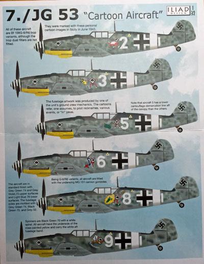 1 HN Ac Decals Iliad Design JG53 Bf 109G6 cartoon aircraft 1.32