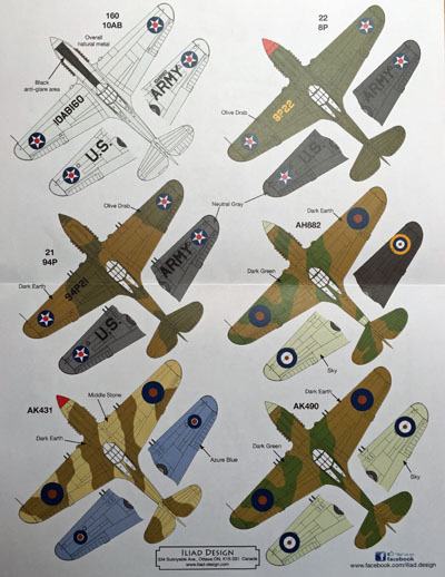3 HN Ac Decals Iliad Design Early P40s and Tomahawks 1.72