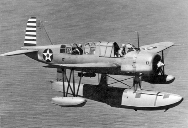 A U.S. Navy Vought OS2U-2 Kingfisher seaplane in flight in early 1942