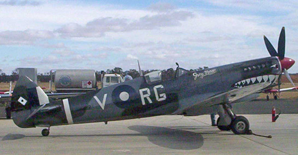 Courtesy of Cfitzart - A rare flying example of a Mk.VIII flying from Temora Aviation Museum, NSW. This is a restored Supermarine Spitfire VIII, A58-758, in the colours and markings of Wg. Cdr Bobby Gibbes of 80 Wing RAAF, based on Morotai in 1945.