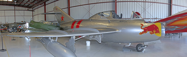 Courtesy of Scismgenie - showing MiG-15 UTI Trainer, Chino Planes Of Fame (Red Bull) Air Museum in flight condition