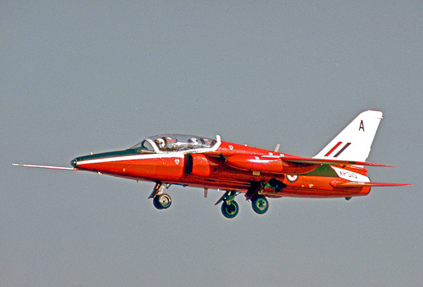 Folland Gnat T.1 XP515 of the RAF Central Flying School when operational at RAF Kemble in 1974 (Courtesy of Ruth AS)