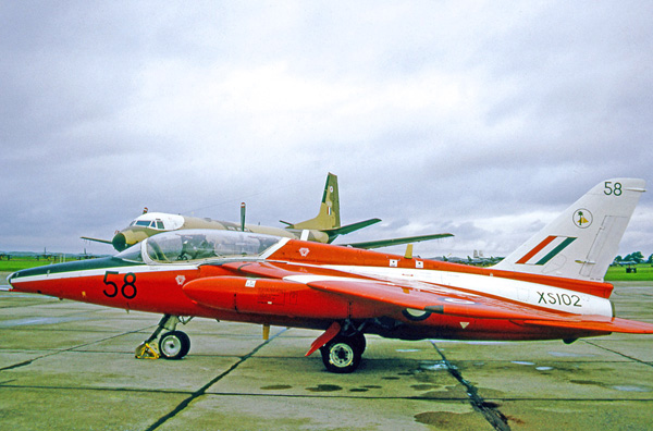 Folland (Hawker Siddeley) Gnat T.1 XS102 of 4 Flying Training School at RAF Chivenor in 1971 (Courtesy of Ruth AS)